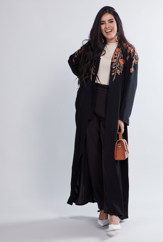Embroidered Detail Maxi Abaya with Long Sleeves and Tie Ups
