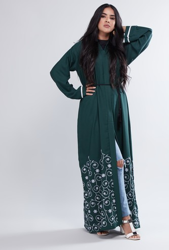Embroidered Abaya with Long Sleeves and Waist Rope