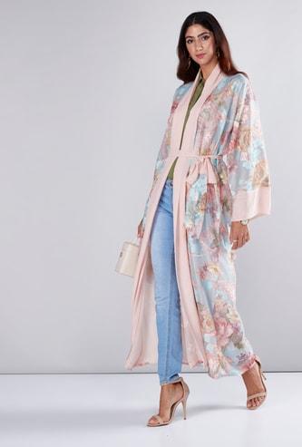 Floral Printed Abaya with Tie Up Belt