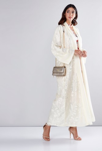 Floral Textured Abaya with Tie Up Belt