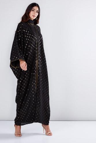 Polka Dot Printed Abaya with Long Sleeves
