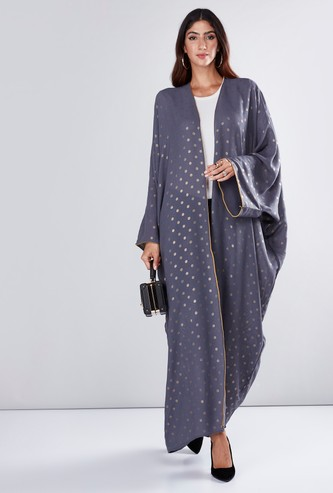 Printed Open Front Abaya with Long Sleeves