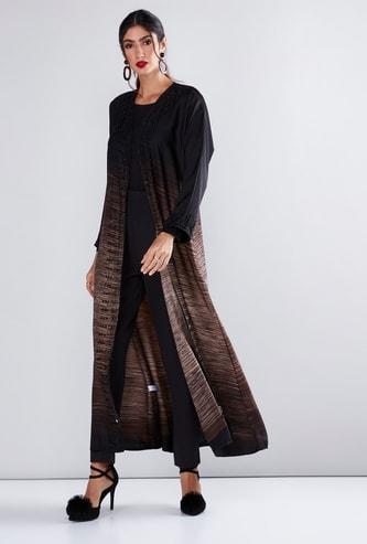 Printed Abaya with Long Sleeves and Pearl Detail