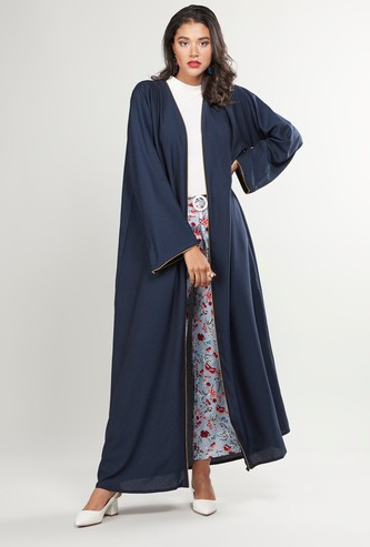 Plain Abaya with Long Sleeves and Zip Closure