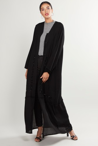 Embellished Full Length Abaya with Long Sleeves