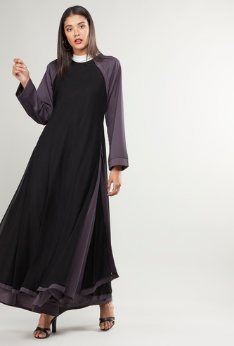 Colourblock Abaya with Raglan Sleeves and Tie Ups