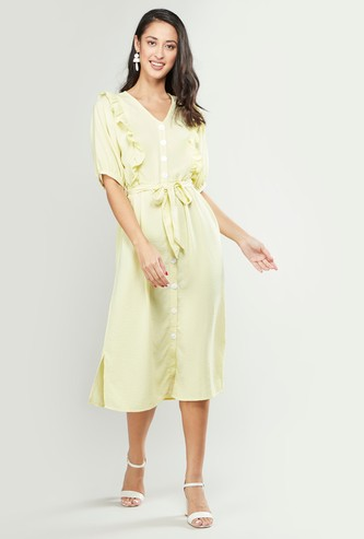 Ruffle Detail Midi Dress with Tie Ups and Short Sleeves