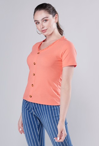 Ribbed T-shirt with Ruffled Neck and Short Sleeves