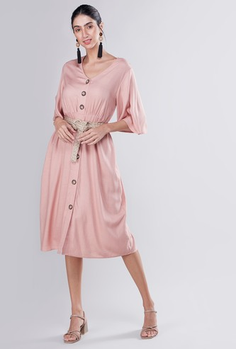 Plain Midi A-line Dress with Button Detail and Belt