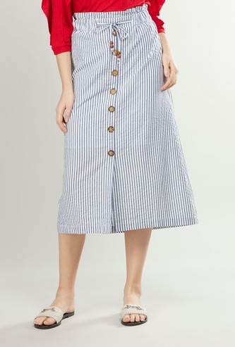 Striped Midi A-line Skirt with Elasticised Waistband and Button Detail