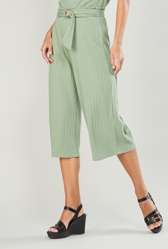 Ribbed Culottes with Belt Detail