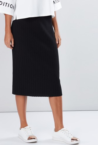 Textured Midi Pencil Skirt with Elasticised Waistband