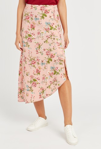 Printed Midi Skirt with Elasticised Waistband and Asymmetric Hem
