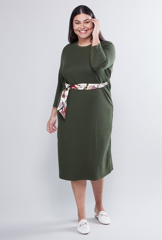 Plain Midi A-Line Dress with Long Sleeves and Printed Tie Ups