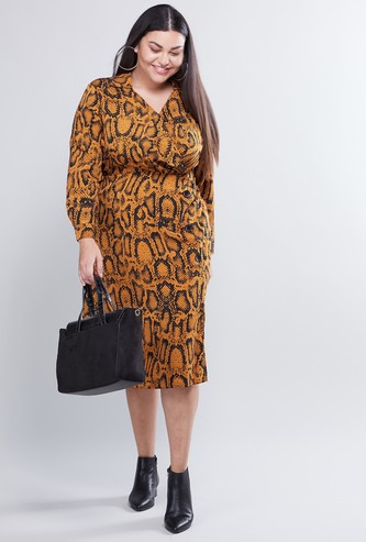 Animal Printed Midi A-line Dress with Long Sleeves and Side Slit