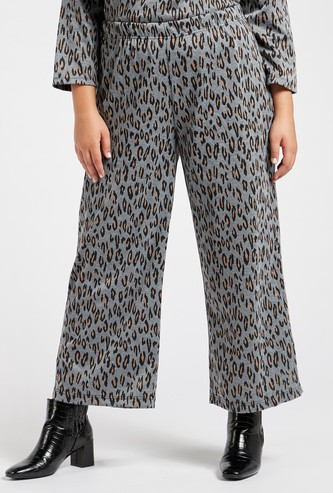 Animal Printed Palazzo Pants with Elasticised Waistband