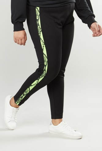 Plain Leggings with Tape Detail and Elasticised Waistband