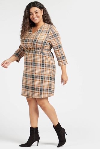 Chequered Midi Shift Dress with 3/4 Sleeves