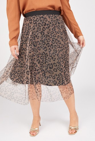 Printed Midi A-line Skirt with Mesh Overlay