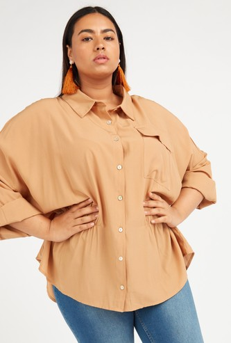 Solid Longline Shirt with Long Sleeves and Pocket Detail