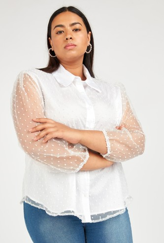 Textured Top with Long Sleeves and Concealed Placket