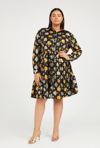 Printed Midi Shirt Dress with Spread Collar and Long Sleeves