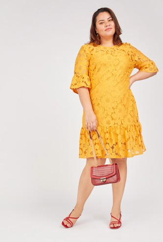 Lace Detail Dress with 3/4 Sleeves