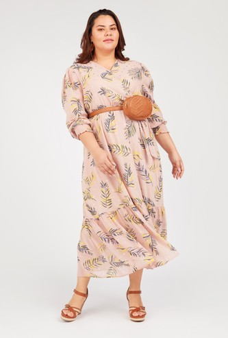 Floral Print Maxi A-line Dress with V-neck and Long Sleeves
