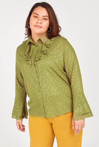 Printed Button-Down Shirt with Ruffle Detail and Flute Sleeves