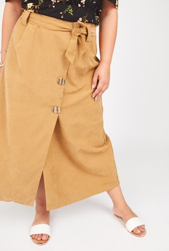 Plain Maxi A-line Skirt with Belt and Button Detail