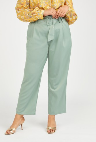 Solid High-Rise Pants with Bellt and Pocket Detail