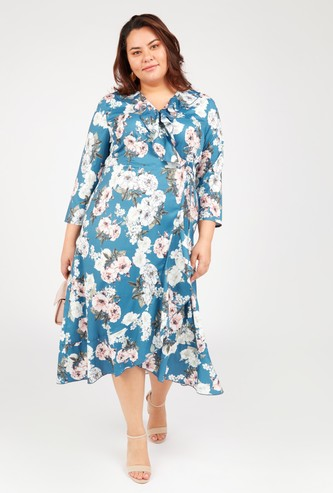 Floral Print Asymmetric Midi Dress with 3/4 Sleeves