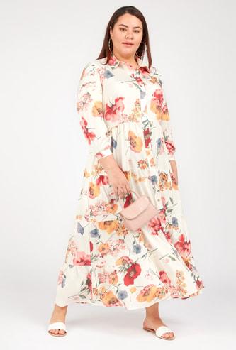 فستان طويل إيه لاين بياقة عاديّة وأكمام طويلة وطبعات أزهار