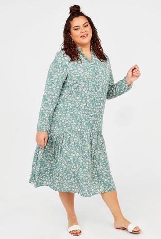 Printed Midi A-line Dress with Long Sleeves and Pleat Detail
