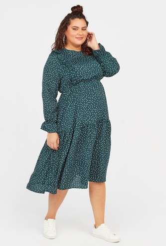 Polka Dot Print Midi Tiered Dress with Long Sleeves