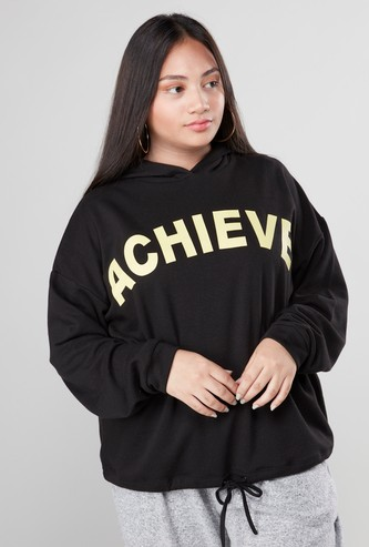 Printed Hooded Sweatshirt with Long Sleeves