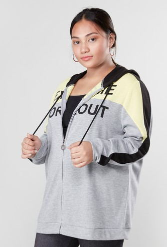 Colourblock Sweatshirt with Drawstring Hood and Long Sleeves