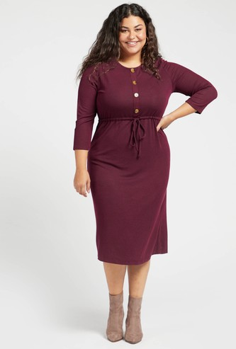 Round Neck Ribbed Maxi Dress with Long Sleeves