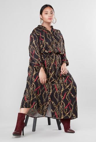 Chain Print Maxi Shirt Dress with Long Sleeves