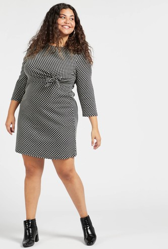 Printed Midi Shift Dress with Long Sleeves