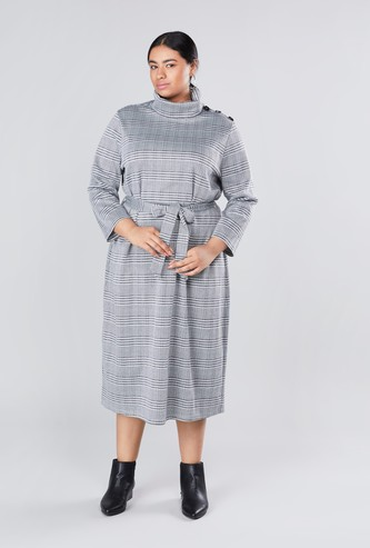 Chequered Midi A-line Dress with High Neck and 3/4 Sleeves