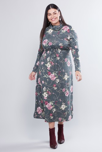 Floral Print Cowl Neck A-line Dress