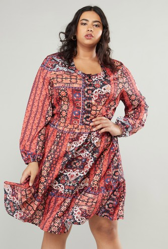 Printed Knee Length Dress with Long Sleeves