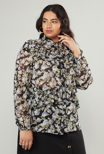 Floral Print Blouse with Ruffles and Long Sleeves