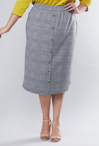 Chequered Midi Skirt with Elasticised Waistband