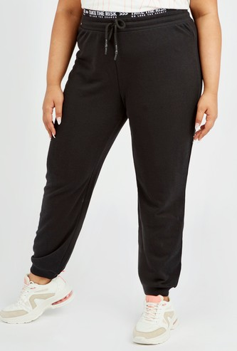 Solid Jog Pants with Printed Elasticised Waistband