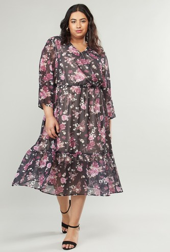 Floral Printed Midi Wrap Dress with 3/4 Sleeves