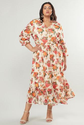 فستان طويل بياقة v بطبعات زهرية