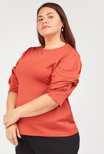 Textured Top with Round Neck and Knot Detail Sleeves