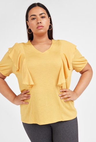Textured V-neck Top with Ruffle Detail and Short Sleeves